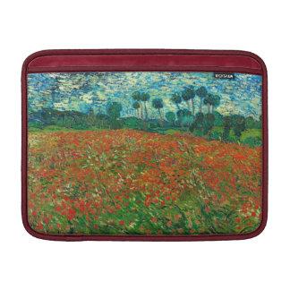 Arte floral del vintage del campo de la amapola de funda macbook air