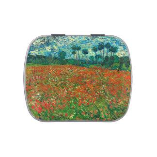 Arte floral del vintage del campo de la amapola de jarrones de dulces
