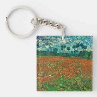 Arte floral del vintage del campo de la amapola de llavero cuadrado acrílico a doble cara