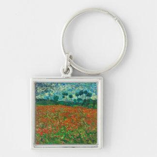 Arte floral del vintage del campo de la amapola de llavero cuadrado plateado