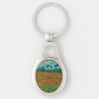 Arte floral del vintage del campo de la amapola de llavero plateado ovalado