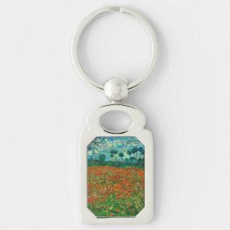 Arte floral del vintage del campo de la amapola de llavero plateado rectangular
