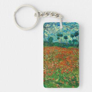 Arte floral del vintage del campo de la amapola de llavero rectangular acrílico a doble cara