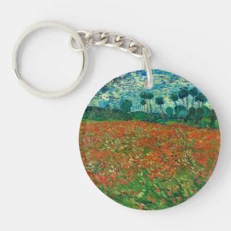 Arte floral del vintage del campo de la amapola de llavero redondo acrílico a doble cara