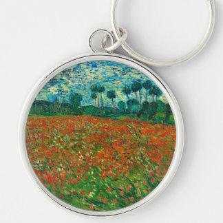 Arte floral del vintage del campo de la amapola de llavero redondo plateado