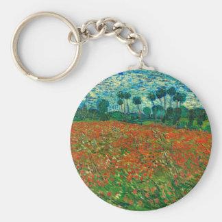 Arte floral del vintage del campo de la amapola de llavero redondo tipo pin