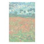 Arte floral del vintage del campo de la amapola de  papeleria de diseño