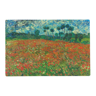 Arte floral del vintage del campo de la amapola de salvamanteles