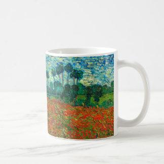 Arte floral del vintage del campo de la amapola de taza de café