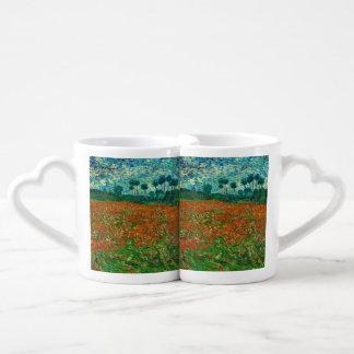 Arte floral del vintage del campo de la amapola de tazas para enamorados