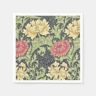 Arte floral del vintage del crisantemo de William Servilletas De Papel