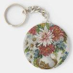 Arte floral del vintage llavero