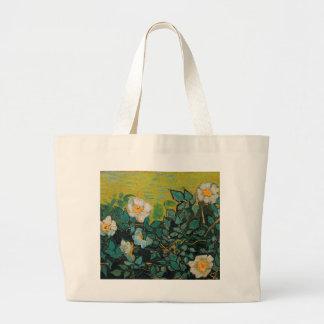 Arte floral del vintage salvaje de los rosas de bolsa tela grande