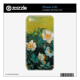 Arte floral del vintage salvaje de los rosas de iPhone 4S skins