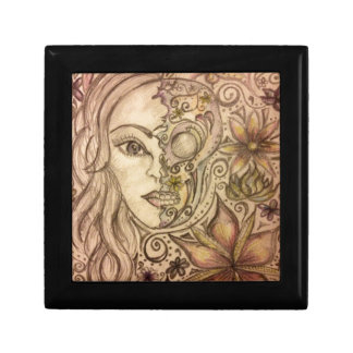 Arte floral dibujado mano del cráneo caja de regalo