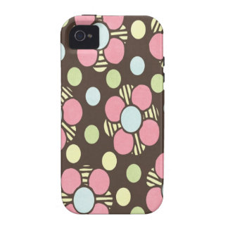 Arte floral en colores pastel femenino iPhone 4 fundas
