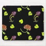 Arte floral en negro tapetes de raton