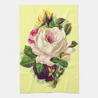 Arte floral femenino del vintage hermoso toallas de mano