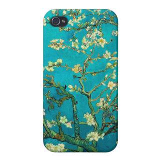 Arte floral floreciente del árbol de almendra de iPhone 4 carcasa