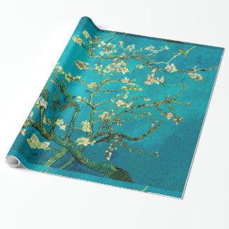 Arte floral floreciente del árbol de almendra de papel de regalo