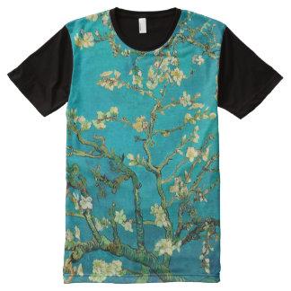 Arte floral floreciente del árbol de almendra de playeras con estampado integral