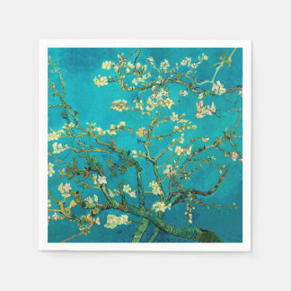 Arte floral floreciente del árbol de almendra de servilletas desechables