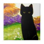 Arte floral hermoso Creationarts del gato negro Teja Cerámica