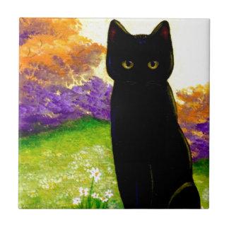Arte floral hermoso Creationarts del gato negro Azulejo Cuadrado Pequeño