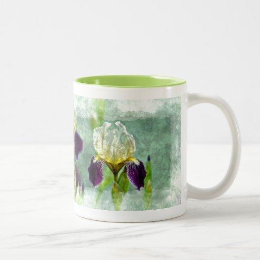 Arte floral impresionista de la pintura del iris p taza dos tonos