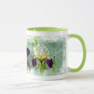 Arte floral impresionista de la pintura del iris taza