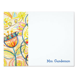 """Arte floral Notecards plano del creyón Invitación 4.25"""" X 5.5"""""""