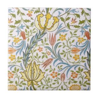 Arte floral Nouveau del vintage de la flora de Azulejo Cuadrado Pequeño
