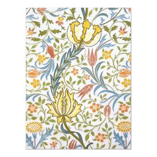 Arte floral Nouveau del vintage de la flora de Invitación 16,5 X 22,2 Cm