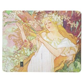 Arte floral Nouveau del vintage de la primavera de Cuaderno Grapado