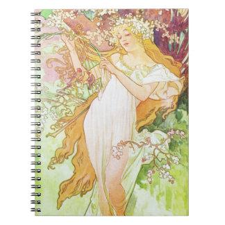 Arte floral Nouveau del vintage de la primavera de Spiral Notebook