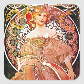 Arte floral Nouveau del vintage del ensueño de Pegatina Cuadrada