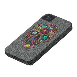 Arte floral pintado del cráneo en falsa piel del iPhone 4 Case-Mate carcasas