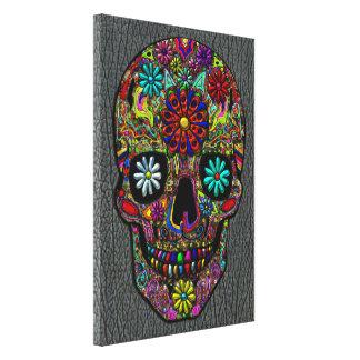 Arte floral pintado del cráneo en falsa piel del t impresion de lienzo