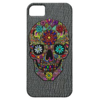 Arte floral pintado del cráneo iPhone 5 protectores