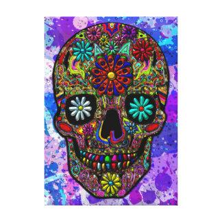 Arte floral pintado del cráneo impresión en lona estirada