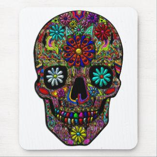 Arte floral pintado del cráneo mousepad