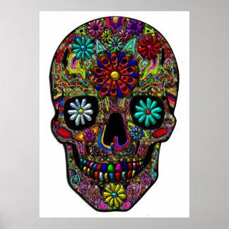 Arte floral pintado del cráneo póster