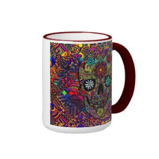 Arte floral pintado del cráneo taza de dos colores