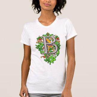 Arte floral real del clarín del monograma B Camisetas