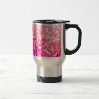 Arte floral rosado femenino de Ombre de la chispa Tazas De Café