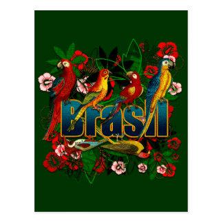 Arte floral tropical de los pájaros de la selva tarjeta postal
