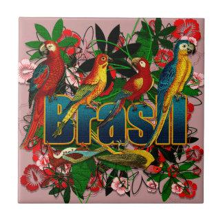 Arte floral tropical de los pájaros de la selva tr azulejo cuadrado pequeño