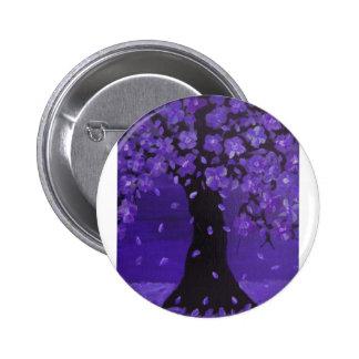 Arte floreciente azul de color violeta oscuro del chapa redonda 5 cm