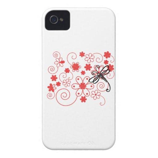 Arte florido de la libélula iPhone 4 Case-Mate cobertura