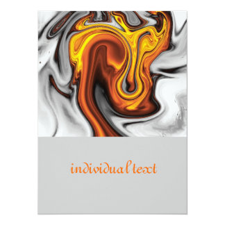 """Arte flúido 09, naranja invitación 5.5"""" x 7.5"""""""